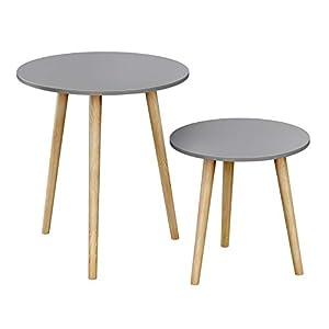 SONGMICS Beistelltische rund, 2er Set, Sofatische, modern, skandinavischer Stil, Couchtische mit Beinen aus Massivholz…