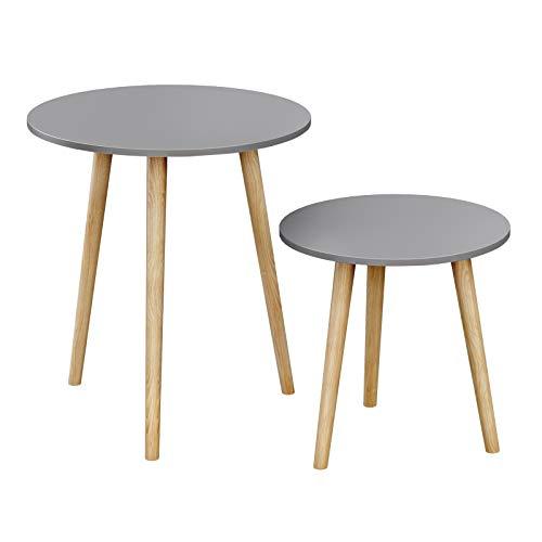SONGMICS Beistelltisch-Set rund, 2 Moderne Sofatische, minimalistisch, skandinavischer Stil, Couchtische mit Beinen aus Massivholz, Tischkombination fürs Wohnzimmer, Balkon, Kiefernholz LET07GY