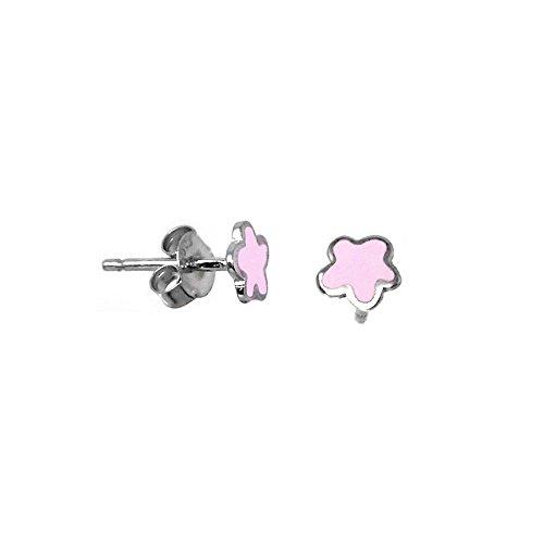 Silber-Ohrringe Agatha Ruiz de la Prada 6 mm. rosa Blume [AB5703]