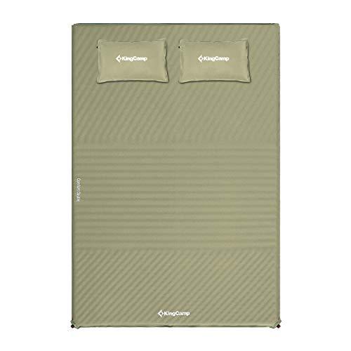 KingCamp Doppel Isomatte Selbstaufblasend Campingmatratze mit 2 Selbstaufblasenden Kissen für Camping Outdoor, 198 × 130 × 4 cm