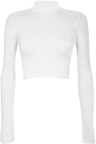 Commencer Damen Polo-Oberteil, Rollkragen, bauchfrei, kurzes elastisches Top Gr. M/L, weiß (Top Weißer Rollkragen)