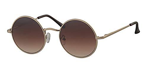 Runde Sonnenbrille mit Federscharnier-Bügeln, gelbem Halsband, braunen Gläsern, goldfarbenem Metallrahmen.