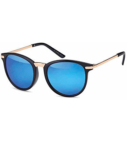Caripe Retro Sonnenbrille Panto Damen Herren Hornbrille Metallbügel Vintage verspiegelt + Getönt -...