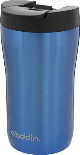 Aladdin Latte Leak-LockTM Edelstahl-Thermobecher, 0.25 Liter, Blau, 100% Auslaufsicher und verriegelbar, passt unter Vollautomat und Kapselmaschine