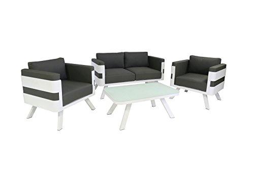 Ribelli Gartenmöbel Set aus Aluminium - Loungemöbel 4-teilig weiß - inkl. Kissen anthrazit - Lounge für Outdoor und Indoor - 2er Sofa + Tisch + 2 Sessel Sitzgruppe