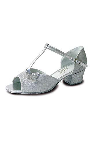 Roch Valley Carrie Standard Tanzschuh mit Schmetterling Silber Glitzernd 12 (30.5)