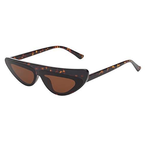 VENMO Mode Herren Retro kleine ovale Sonnenbrille für Damen Metallrahmen Shades Brillen Katzenauge Metall Rand Rahmen Damen Frau Mode Sonnebrille Gespiegelte Linse Women Sunglasses (R-D)
