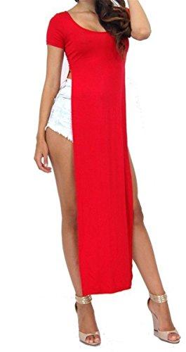 Fast Fashion - Robe Longue Maxi Stretchy Manche Raglan Plaine Split Côté - Femmes Rouge