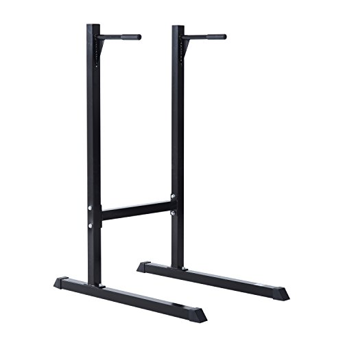 Homcom Dip Station Stand Parallel Pull Push Up Bar Brust Bizeps Trizeps Training Home Gym Fitness Equipment (schwarz)