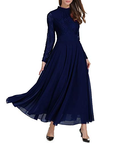 empire linie kleid Aox Damen Classy Langarm Crochet Lace Patchwork A-Linie Chiffon Swing Kleid Schönheit Empire Party Brautjungfer Maxi Kleid Vestidos (36, Blau)