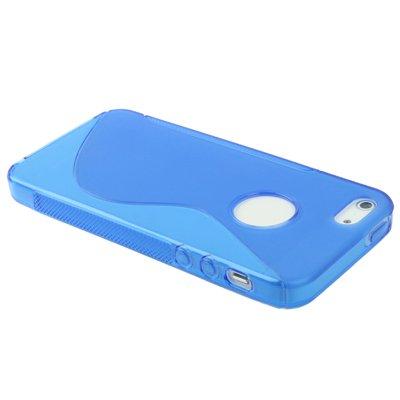 Coque Iphone 5/5s en bleu en silicone avec découpe pour le logo Apple-Original seulement de thesmartguard