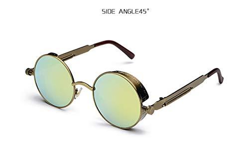 Daawqee Prämie Sonnenbrillen,Brillen,Round Steampunk Sunglasses Men Women Luxury Brand Eyewear Mirror Punk Sun Glasses Vintage Female Male Eyeglasses Punk C7