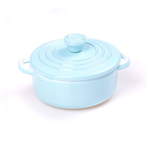 rycnet Mini-Topf für Puppenhaus, Mini-Topf, Suppentopf, Boiler, Zubehör für Spielküche, Spielzeug, Blau