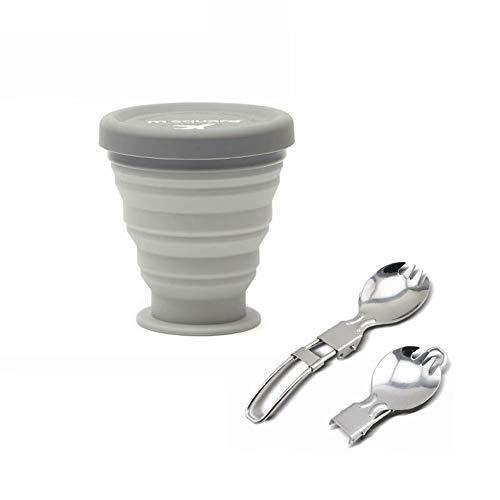 WW-outdoor products Tasse à café Pliable Tasse Pliante - Tasse en Silicone, Tasse Portable réutilisable, Tasse de Voyage Pliable, 200 ML, étanche, sans BPA (Gris)