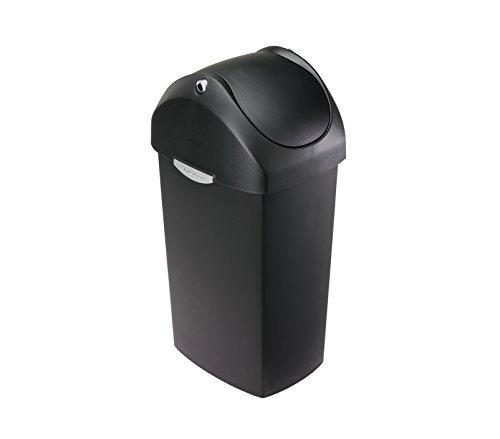 simplehuman Swing Lid Bin, 40 L - Black Plastic