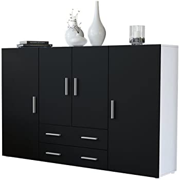 highboard sideboard nora korpus in wei matt front in schwarz matt vladon k che. Black Bedroom Furniture Sets. Home Design Ideas