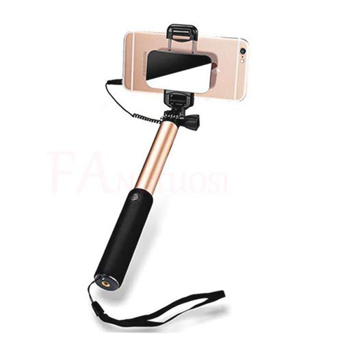 H&T Wired Handheld Selfie Stick, Teleskopstange Self Portrait für das iPhone X / 8 / 8P / 7 / 7P / 6S / 6/5 Galaxy S9 / 8/7/6 / Huawei More,A