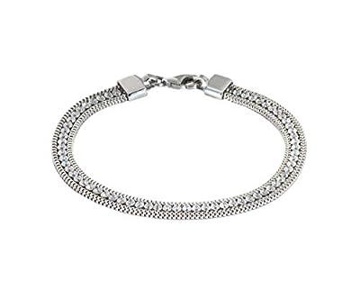 Nini Jewels, bracelet femme en argent 925 rhodié, monté avec chaîne tennis centrale (CZ) et chaîne latérale. Produit artisanal, Made in Italy