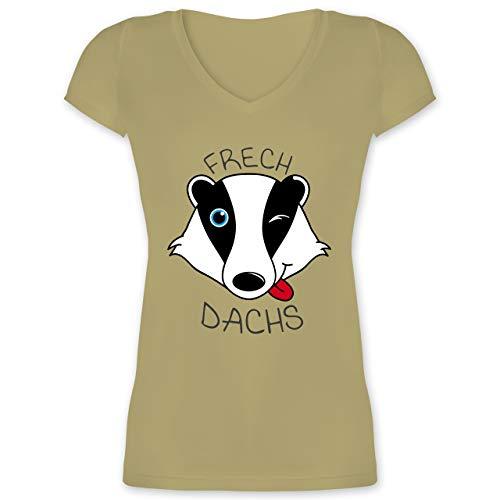 Statement Shirts - Frechdachs - XXL - Olivgrün - XO1525 - Damen T-Shirt mit V-Ausschnitt
