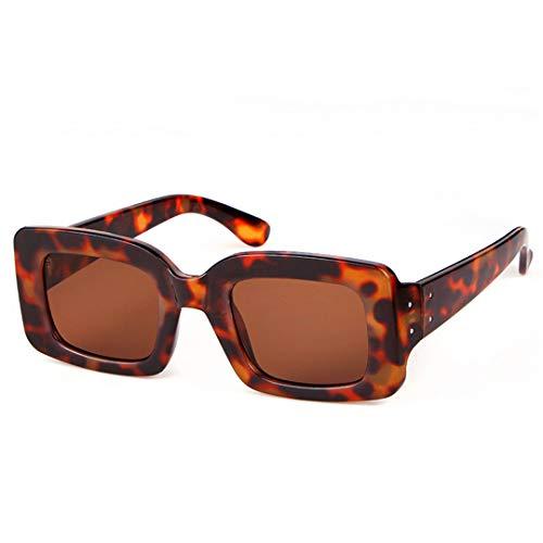 DAIYSNAFDN Vintage Retro kleine quadratische Sonnenbrille Designer Fashion Leopard Frame rechteckige Sonnenbrille C3