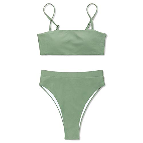 Bikini high Waist Bikin Women Swimsuit Sexy Bikini Set Solid Bathing Suit Brazilian Beachwear Push Up high Waist Bikini Green L - Secret Logo Set Victorias