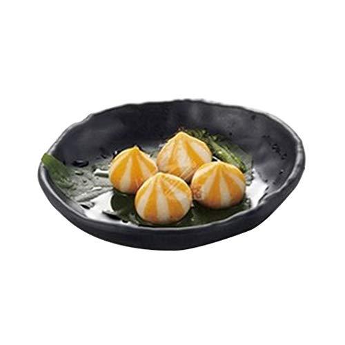 Dapengzhanchi Flache Platte Snack Dish Melamin Geschirr Reis Tisch Container Kreative Grill Geformte Kunststoffplatte Innen-und Außenbereich Einfach Zu Reinigen (Color : Black, Size : 140061)