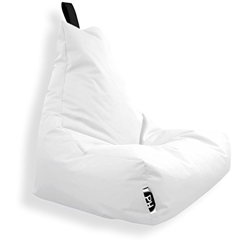 Patchhome Lounge Sessel XXL Gamer Sessel Sitzsack Sessel Sitzkissen In & Outdoor geeignet fertig befüllt | XXL - Weiß - in 2 Größen und 25 Farben