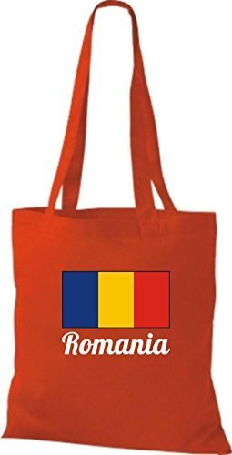 ShirtInStyle Stoffbeutel Baumwolltasche Länderjute Romania Rumänien Farbe Navy rot