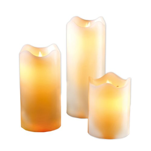 Britesta flackernde LED-Kerzen: LED-Echtwachskerzen mit beweglicher Flamme, 3er-Set (LED-Kerzen mit flackernden Dochten) -