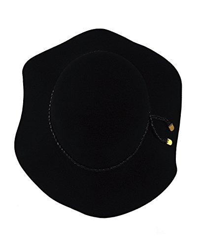 Chapeau d'hiver ajustable et souple en laine à couleur unie, avec cordon tressé. Produit offert par Nyfashion101. Noir