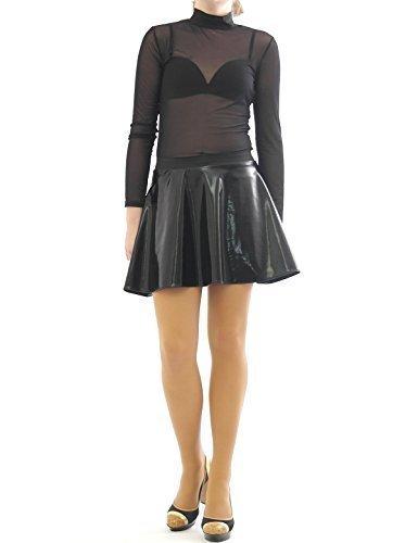 Swing Rock Mini Glanz Lack Leder Optik Gummibund Skirt Minirock schwarz-glanz S/M