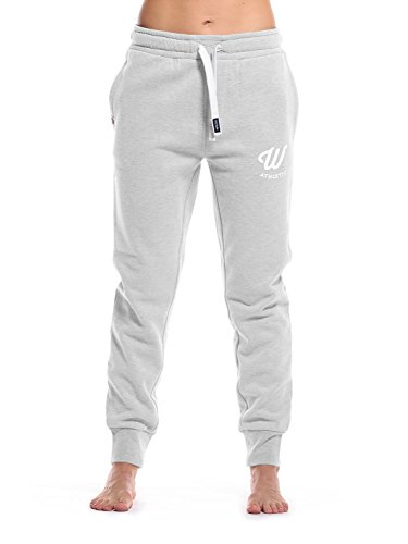 WOLDO Athletic Damen Jogginghose Jogger Trainingshose Sweatpants Sporthose Freizeithose Gym Fitness Hose Slim Fit schmal eng (S, Clark / grau/weiß)
