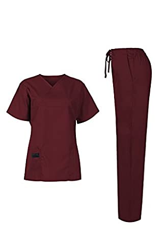 MedPro Women's Medical Scrub Set (Top & Bottom) Burgundy L (5868)