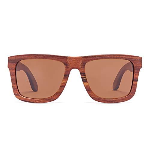 Bonizetti Holzsonnenbrille Modell Lima rotes Sandelholz, braun, 143mm, UV- Schutz 400