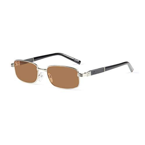 Mit dem Übergang der photochromen bifokalen oval Metallrahmen Lesebrille Linse Sonnenbrille im Freien transparent flachen Platte Solar Reader - UV400 / Vergrößerungsstärke von 1,00 bis 3,00 (Silber)