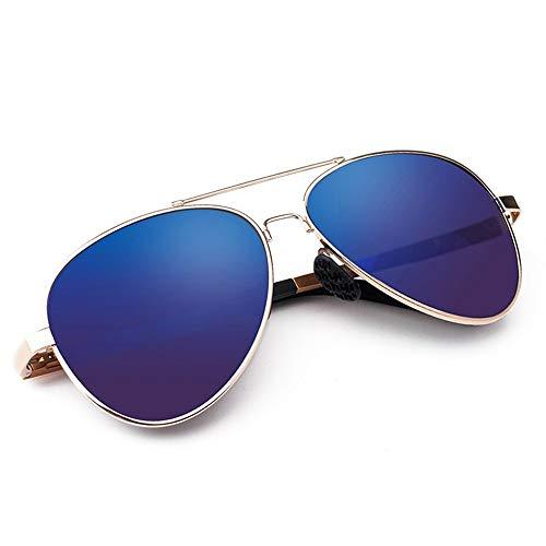 Doxtecret Herren Classic Aviator Sonnenbrille Polarized Eyes Fashion Sonnenbrille UV-Schutz Augenschutz Geschenk Sonnenbrille für Herren Niemals Enden (Farbe : Gold Frame Blue Piece, Größe : Free)