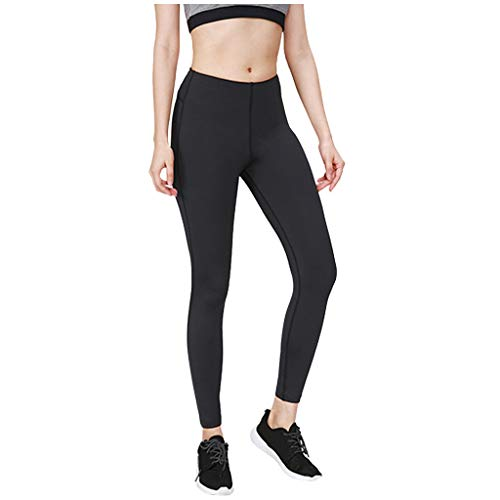 MOTOCO Damen Leggings Frauen Hohe Taille Eng Laufen Sport Elastic Solid Color Fitness Yoga Hosen Pants(S,Schwarz)