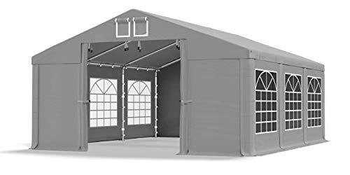 Das Company Partyzelt 4x6m wasserdicht grau Zelt 560g/m² PVC Plane Hochwertigeszelt Gartenzelt Summer SD