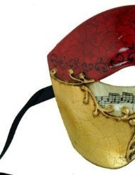 Venetian Mask Exclusive w/ RED Musical Half Face Mask Men's Masquerade Mask by ppmarket
