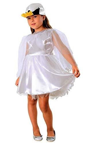 (Schwan Kostüm weiß für Kinder - schickes Schwanenkostüm für Mädchen Karneval - Vogel Kostüm Kinder (134/140))