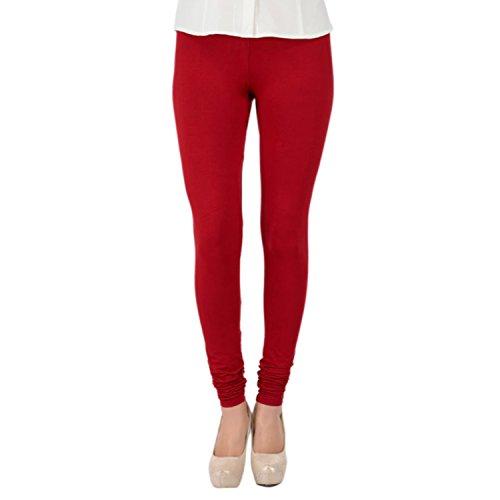 Trasa Cotton Lycra Women's / Girls Churidar Leggings - Size :- Large, Maroon (Brand Outlet)