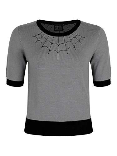 Banned Damen Sweater Tarantula Web grau