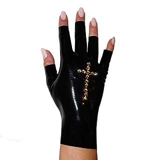 Rubberfashion kurze Latex Handschuhe, fingerlose Latexhandschuhe bis zum Handgelenk mit Studs Kreuz nicht chloriert für Frauen und Herren 1 Paar schwarz XL
