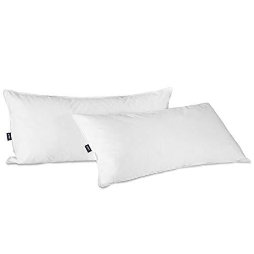 Umi. by Amazon - Weißes Gänsefedern Kissen Mit Baumwollbezug, Maschinenwaschbar, 2er Set Federkissen, 40x80cm, Weiß