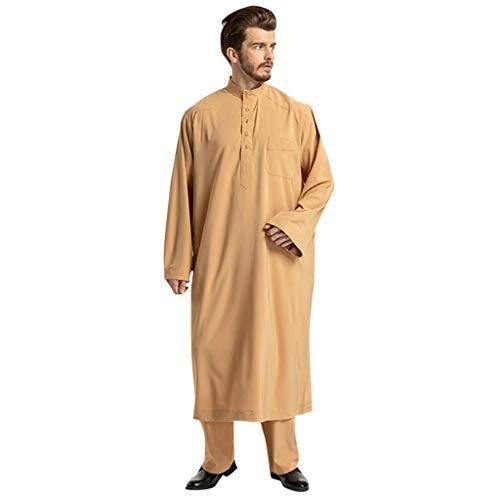 Zilosconcy Kleidung Männer Ethnische Langarm Islamische Moslemische Mittlere Osten Maxi Robes Hose Suite Kaftan moslemischer nahöstlicher arabischer nationaler Lange einfarbig männer Robe Hosen Set