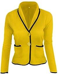 30bd87a7c29d Giacca da Tailleur Donna Manica Lunga Bavero Slim Fit Blazer Festa Style  Primaverile Casuale di Moda Autunno Eleganti Business Ufficio…