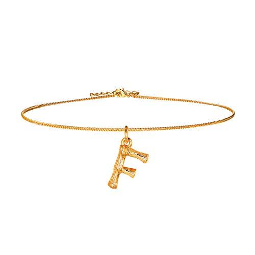FOCALOOK Initiale Anhänger kleine Buchstabe F Choker Halskette Damen Gelbgold überzogend 35+5cm Ankerkette verstellbar Bambus Stil Coole Collier Schmuck für Mädchen