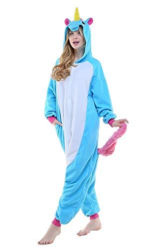 Regenboghorn Unisex Einhorn kostüme, Schlafanzug, Pyjama,für das Halloween ,Karneval und Weihnachten mit der Kapuze (S(140-160CM), Blau)