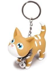 Porte clés chat avec collier grelot - brun / blanc
