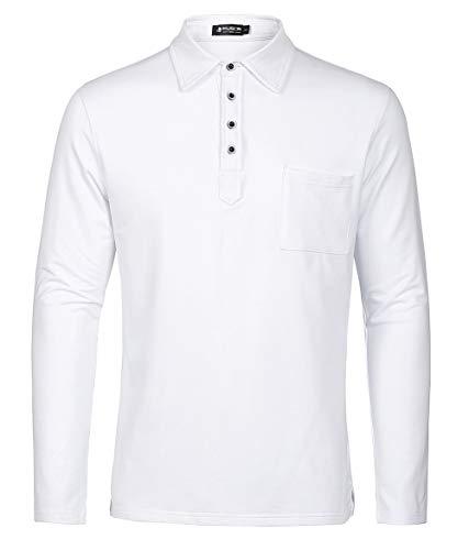 Weiße Langarm-polo-shirt (Kuson Herren Polo Shirt Poloshirt Langarm Elegante Regular Fit Langarmpolo für Männer Weiß XXL)